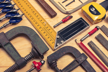 composition of various mechanical tools related to the trade of carpenter.