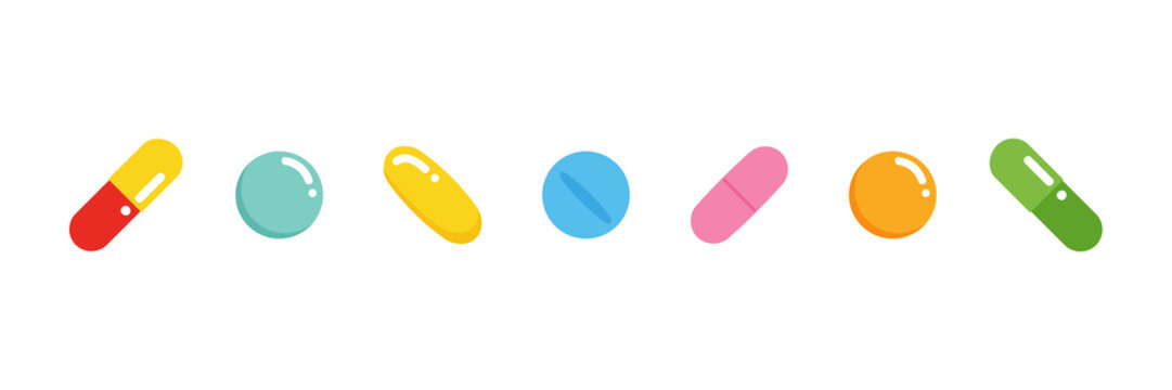 Set, collection of cute colorful pills, medications in different sizes and shapes, isolated on white background.