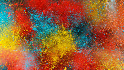 Fototapete - Explosion of colored powder.