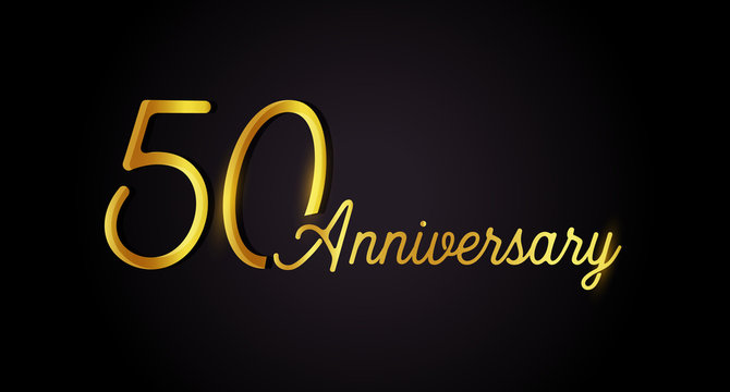 50 anniversary logo concept. 50th years birthday icon. Isolated golden numbers on black background. Vector illustration. EPS10.