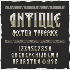 """Original label typeface named """"Antique""""."""