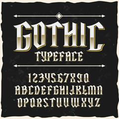 """Original label typeface named """"Gothic""""."""