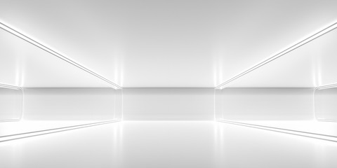 Futuristic empty space corridor with glow light and reflection. Abstract background sci-fi or science concept. 3D Render. Fototapete