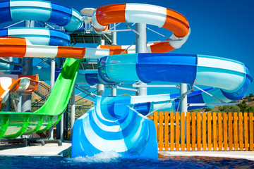colorful open-air water slides, Detail of the blue slides, front view