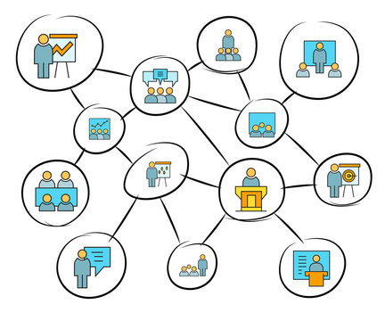 business management concept network diagram, mind mapping infographics