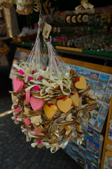 BRATISLAVA, SLOVAKIA : Hand made accessories and colorful natural herbal soaps on a rope - original souvenir from Slovakia