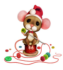 Isolated character rat or mouse, decor beaded from buttons for Christmas.