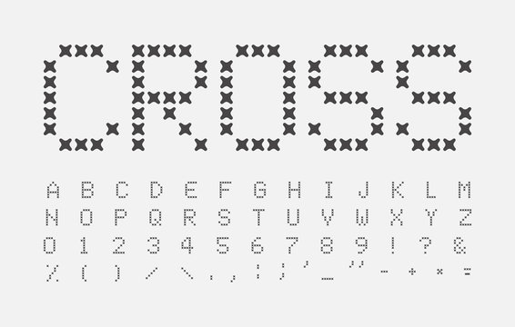 Abstract stitches letters set. Cross alphabet. Seam headline ABC. Cross stitch font design. Vector black letter on white background.