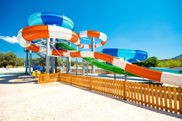 colorful open-air water slides, view at an angle