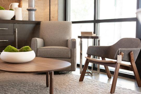 Grey Plush Lounge Chair