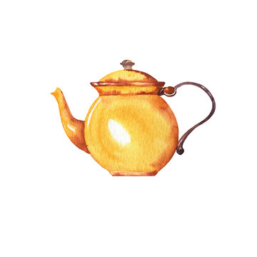 Yellow teapot or coffeepot isolated on white background. Hand drawn watercolor illustration.