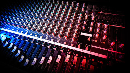 detail mixer in red and blue light with great perspective, the version with dark corners