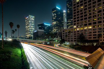 Fotomurales - Los Angeles, Urban City at Sunset with Freeway Trafic