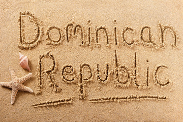Dominican Republic beach writing message vacation concept