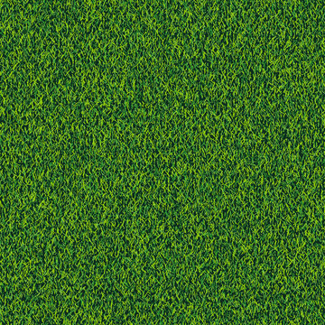 Grass seamless realistic texture. Green lawn, field or meadow vector background. Summer or spring nature illustration