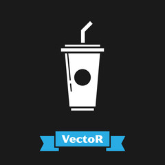 White Paper glass with drinking straw and water icon isolated on black background. Soda drink glass. Fresh cold beverage symbol. Vector Illustration