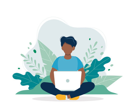Black man with laptop sitting in nature and leaves. Concept vector illustration for working, freelancing, studying, education, work from home. Illustration in flat cartoon style