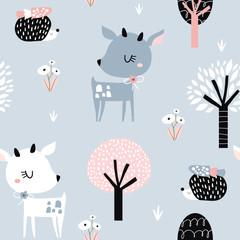 Motif enfantin sans couture avec cerf mignon, hérisson dans le bois. Texture créative de la ville des enfants pour le tissu, l& 39 emballage, le textile, le papier peint, l& 39 habillement. Illustration vectorielle