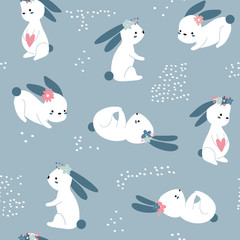 Seamless Easter childish pattern with cute rabbits. Creative spring kids texture for fabric, wrapping, textile, wallpaper, apparel. Vector illustration