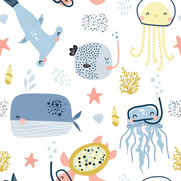 Seamless pattern with cute undersea inhabitants in masks. Creative childish background. Perfect for kids apparel,fabric, textile, nursery decoration,wrapping paper.Vector Illustration