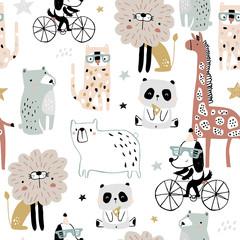 Seamless pattern with cartoon hand drawn bear,giraffe, dog,leopard, lion, panda. Creative childish pastel texture. Great for fabric, textile Vector Illustration