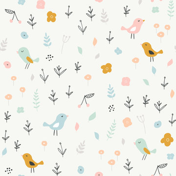 Seamless childish pattern with tiny birds and floral elements. Creative scandinavian style kids texture for fabric, wrapping, textile, wallpaper, apparel. Vector illustration