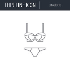 Symbol of Lingerie. Thin line Icon of Fashion. Stroke Pictogram Graphic for Web Design. Quality Outline Vector Symbol Concept. Premium Mono Linear Beautiful Plain Laconic Logo