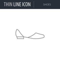 Symbol of Shoes. Thin line Icon of Fashion. Stroke Pictogram Graphic for Web Design. Quality Outline Vector Symbol Concept. Premium Mono Linear Beautiful Plain Laconic Logo
