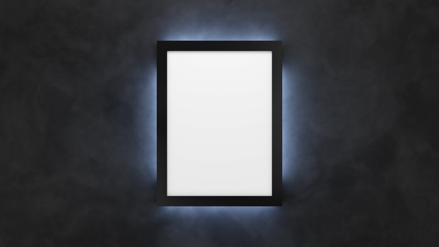 Poster mockup on the black wall with backlight. 3d render lightbox template.