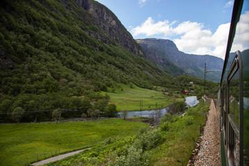 Train journey on Flamsbana in Norway