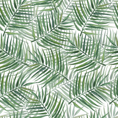 Seamless pattern with palm leaves. Watercolor illustration.