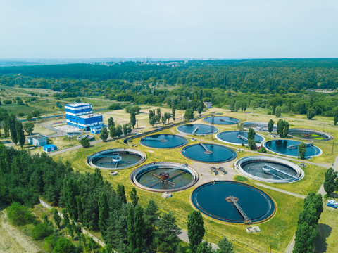 Modern wastewater treatment plant, aerial view from drone