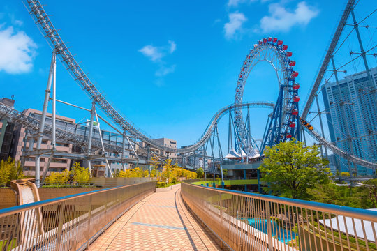 Tokyo Dome City theme park in Tokyo, Japan