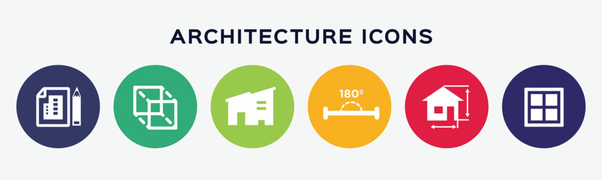 Vector set icons of architectural.