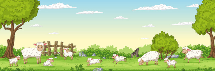 Wall Mural - Panorama landscape with sheep. Vector illustration with separate layers.
