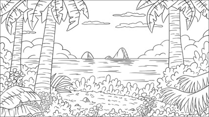 Wall Mural - Coloring book tropical landscape. Hand draw vector illustration with separate layers.
