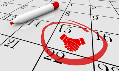 Handshake Agreement Shaking Hands Calendar Day Date Meeting 3d Illustration