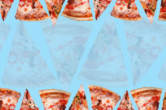 lots of triangular pizza slices in three rows on a light green background top view