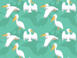 White Pelican Cartoon Seamless Wallpaper