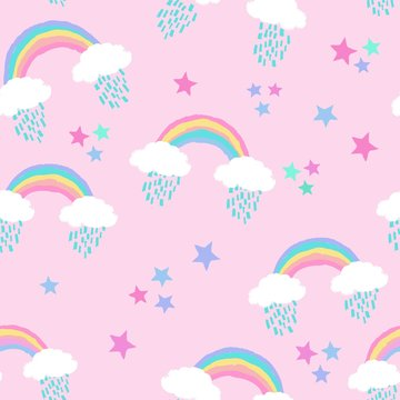 Kids' seamless repeat pattern with rainbows,clouds, raindrops and stars on pink background
