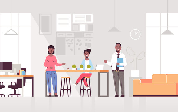 couple coworkers pointing at new female employee introducing hired worker to the team concept modern co-working center office interior flat full length horizontal