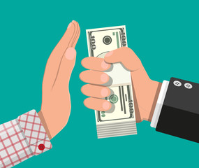 Hand giving money to other hand. Hand full of dollar banknotes. Hidden wages, salaries black payments, tax evasion, bribe. Anti corruption concept. Vector illustration in flat style