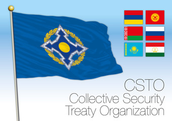 Collective Security Treaty Organization flag, Russia, vector illustration