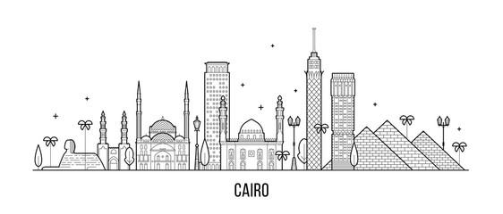 Fototapete - Cairo skyline Egypt city buildings vector line art