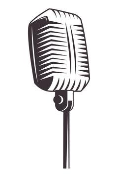 antique microphone drawn tattoo icon