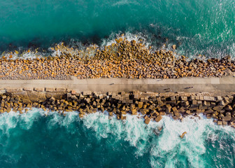 Aerial view of the breakwall at nobbys beach Newcastle NSW Australia Wall mural