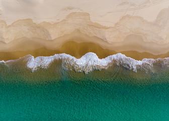 Aerial view of shoreline at nobbys beach Newcastle Australia