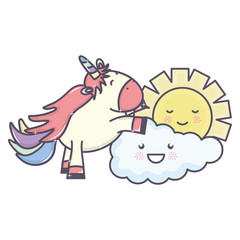 Deurstickers Babykamer cute adorable unicorn and clouds and sun kawaii characters