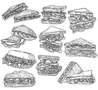 set of hand drawn doodles sandwich