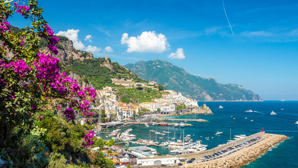 Wall Mural - Landscape with Amalfi town at famous amalfi coast, Italy